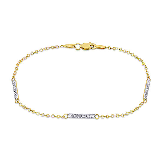 10K Two Tone Gold 7.5 Inch Solid Link Chain Bracelet