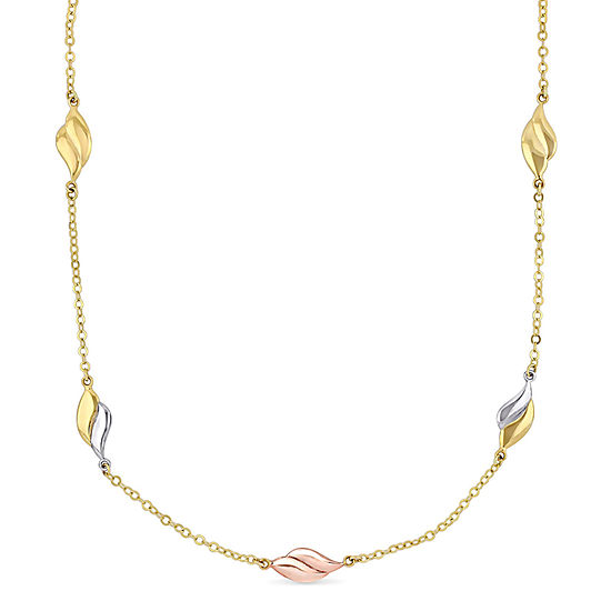 Womens 10K Tri-Color Gold Collar Necklace