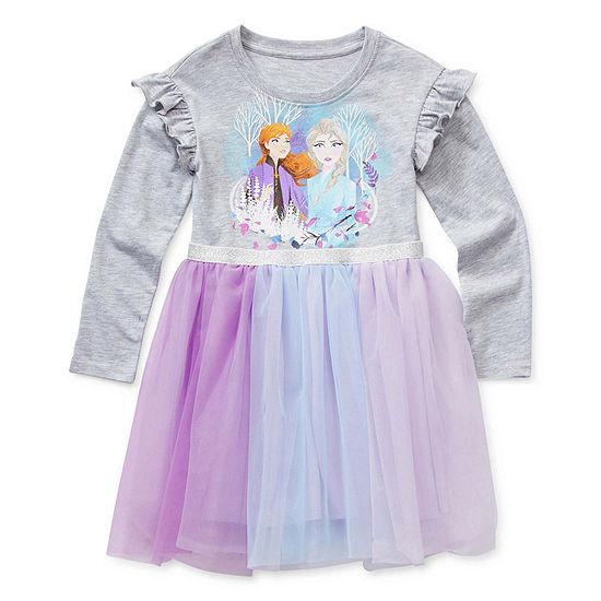 Long Sleeve Fitted Sleeve Frozen 2 Tutu Dress - Preschool Girls