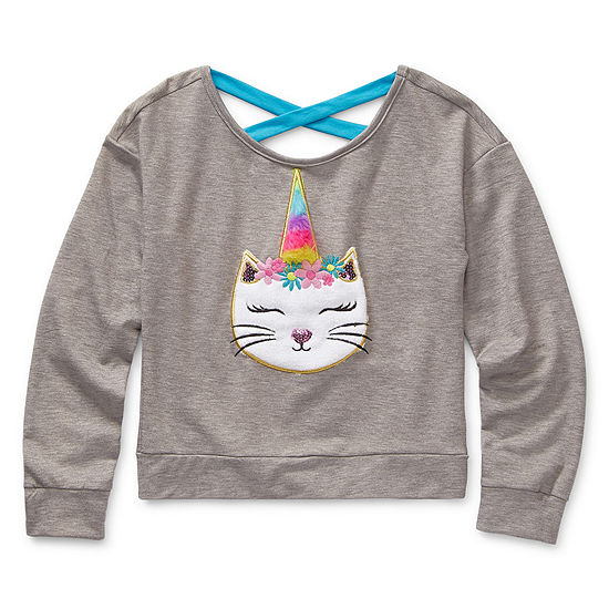 Knit Works Girls Scoop Neck Long Sleeve Embroidered Graphic T-Shirt - Preschool / Big Kid