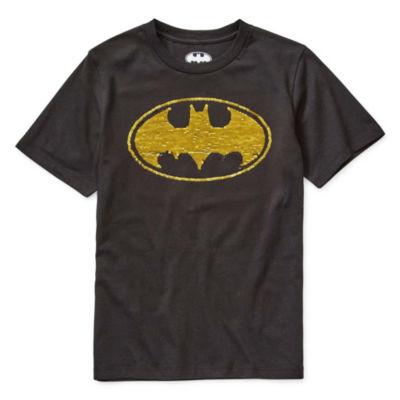 Flip Sequins Little & Big Boys Crew Neck Batman Short Sleeve Graphic T-Shirt