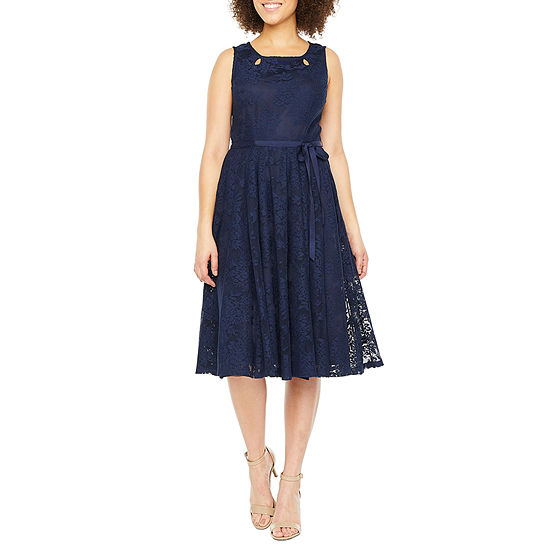 Danny & Nicole Sleeveless Floral Lace Midi Fit & Flare Dress