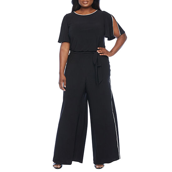 MSK Short Sleeve Embellished Jumpsuit-Plus