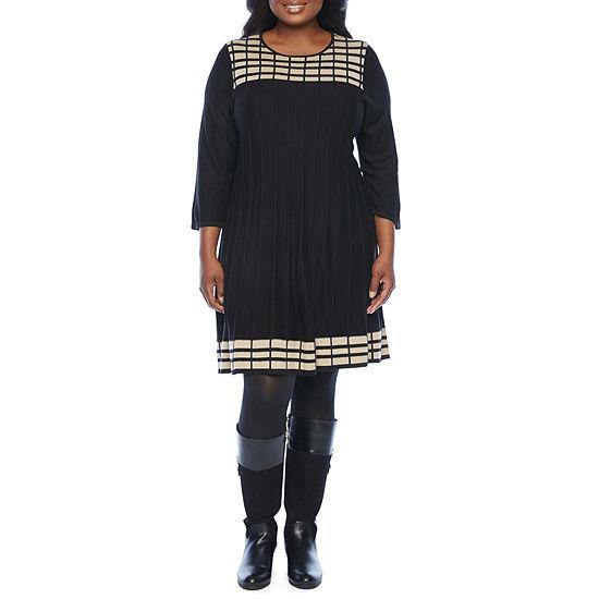 Jessica Howard-Plus 3/4 Sleeve Sweater Dress