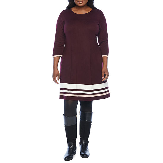Jessica Howard-Plus Long Sleeve Sweater Dress
