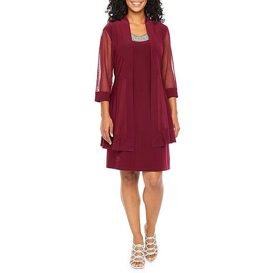 R & M Richards 3/4 Sleeve Embellished Jacket Dress-Petite