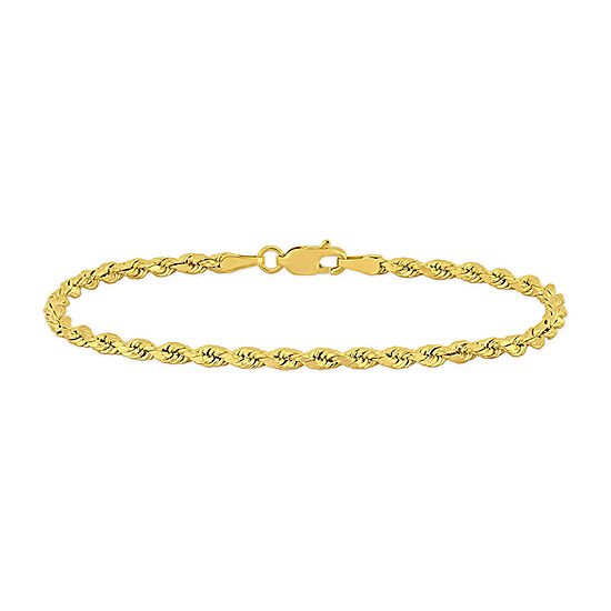 14K Gold 7.5 Inch Hollow Rope Chain Bracelet