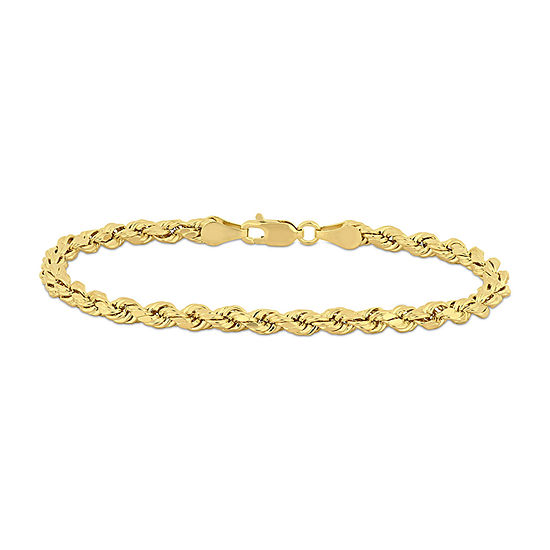 10K Gold 7.5 Inch Solid Rope Chain Bracelet