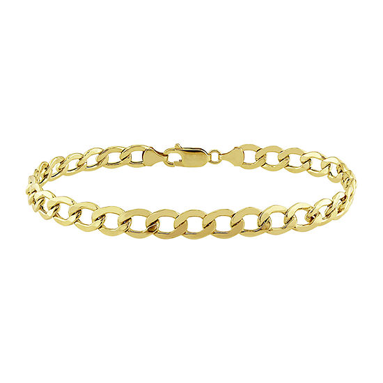 10K Gold 9 Inch Hollow Curb Chain Bracelet