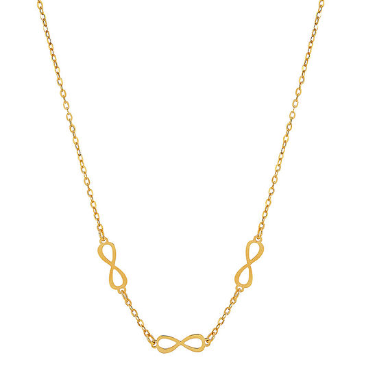 Made in Italy Womens 14K Yellow Color Gold Infinity Pendant Necklace