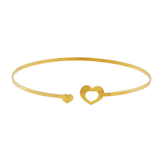 Made in Italy 14K Gold Heart Bangle Bracelet