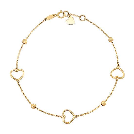 14K Gold 7 3/4 Inch Solid Cable Heart Link Bracelet
