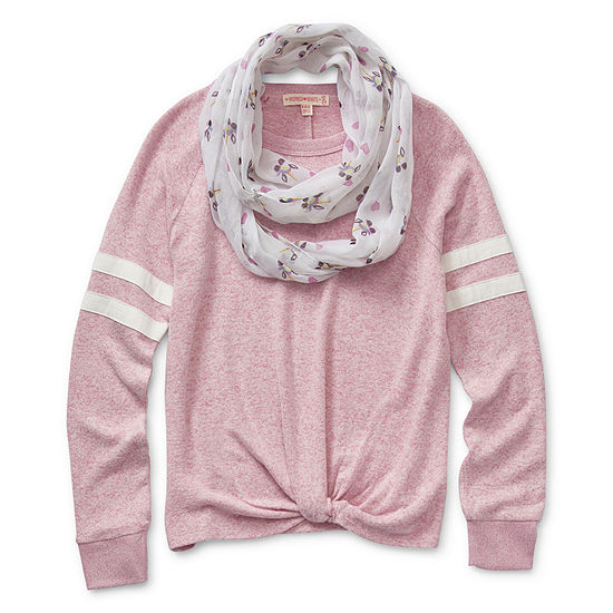 Inspired Hearts Girls Crew Neck Long Sleeve Sweatshirt Preschool / Big Kid