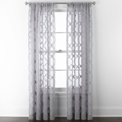JCPenney Home Zuri Sheer Rod-Pocket Single Curtain Panel