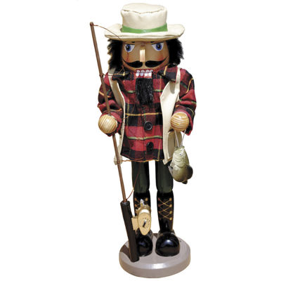 "Santa's Workshop 14½"" Bass Fisherman Nutcracker"