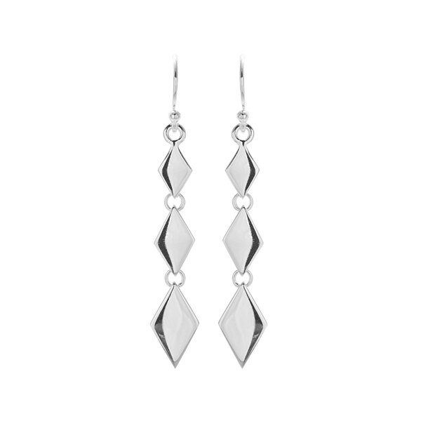 Sterling Silver Triple-Polished Diamond-Shape Drop Earrings