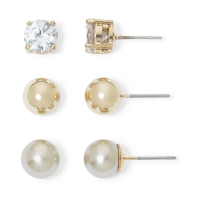 Monet® Simulated Pearl and Crystal Gold-Tone 3 pr. Stud Earring Set