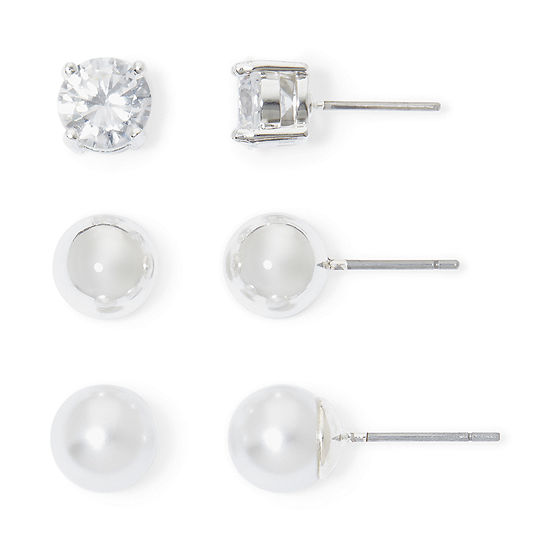 Monet® Simulated Pearl and Crystal Silver-Tone 3 pr. Stud Earring Set