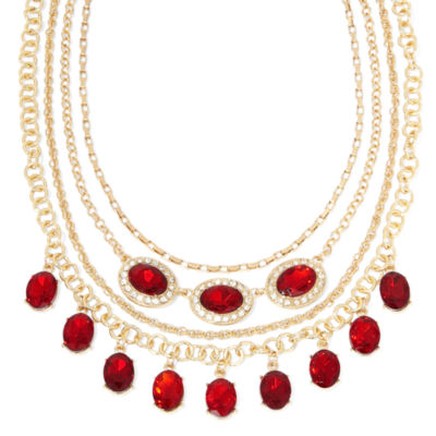 Monet® Red and Clear Crystal Layered Necklace
