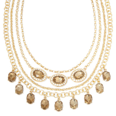 Monet® Champagne and Clear Crystal Layered Necklace