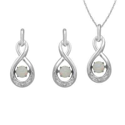 Love in Motion™ Lab-Created Opal & Lab-Created White Sapphire Sterling Silver Boxed Jewelry Set