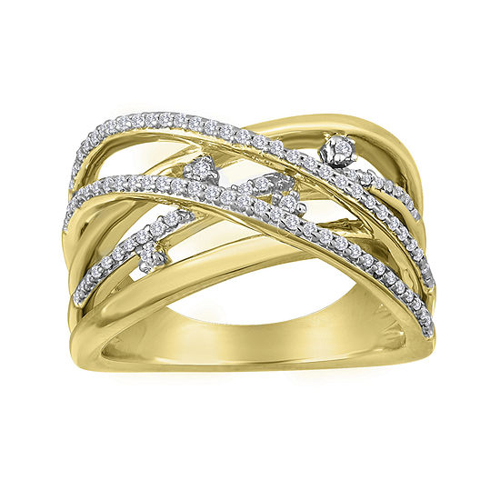 1/4 CT. T.W. 14K Gold Over Silver Orbit Ring