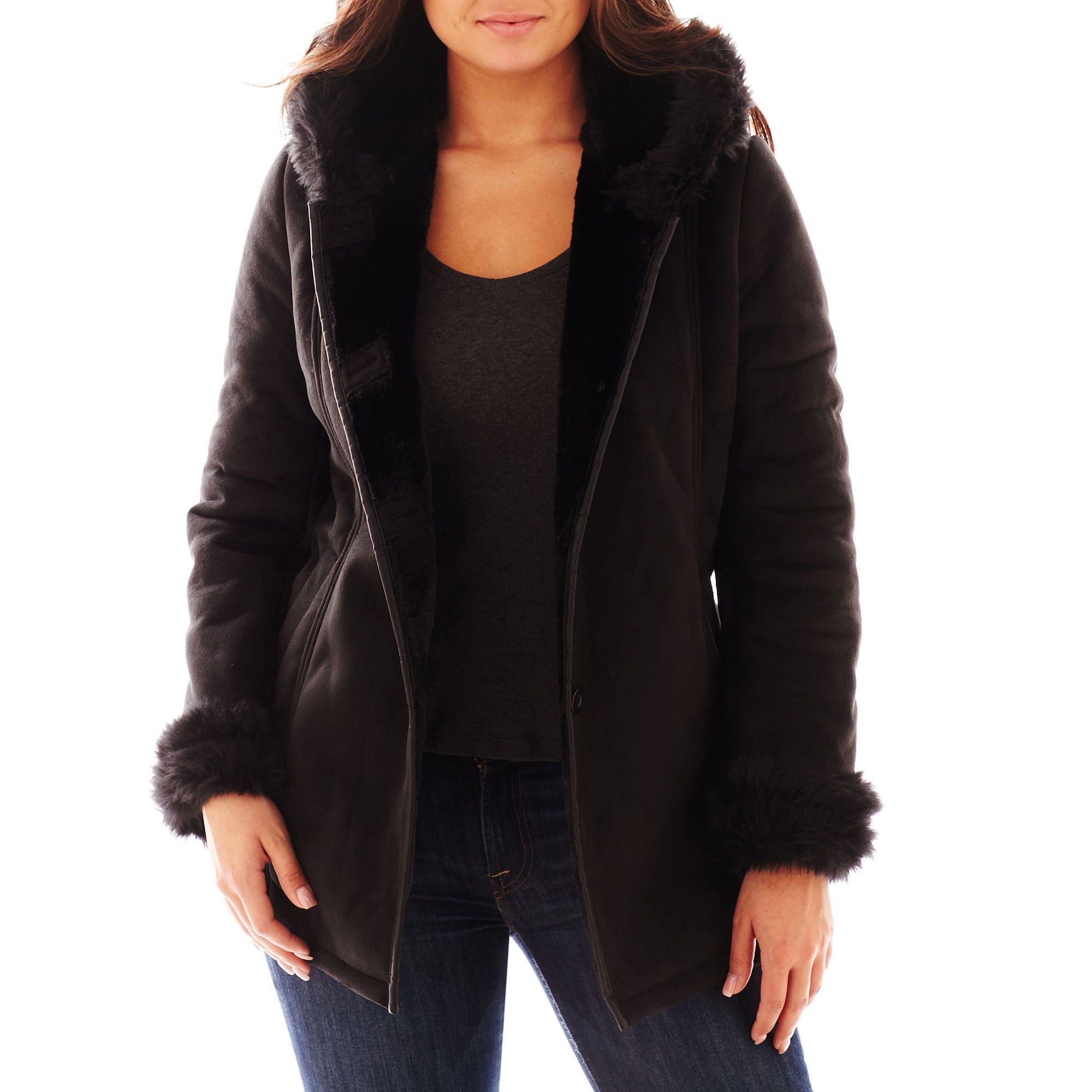 Excelled Hooded Faux-Shearling Coat - Plus plus size,  plus size fashion plus size appare