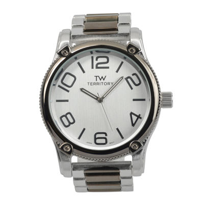 Territory Mens Textured Bezel Stainless Steel Watch
