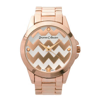 Journee Collection Womens Zigzag Print Dial Stainless Steel Bracelet Watch