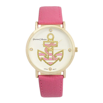 Journee Collection Womens Crystal-Accent Anchor Dial Watch