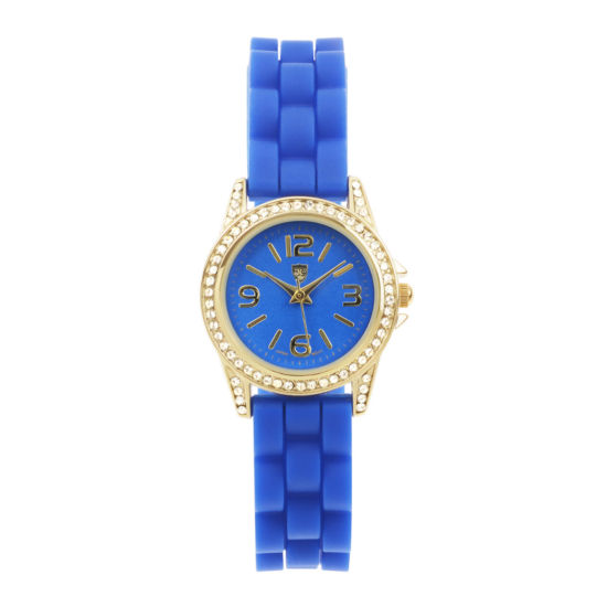 Journee Collection Womens Crystal-Accent Silicone Strap Watch
