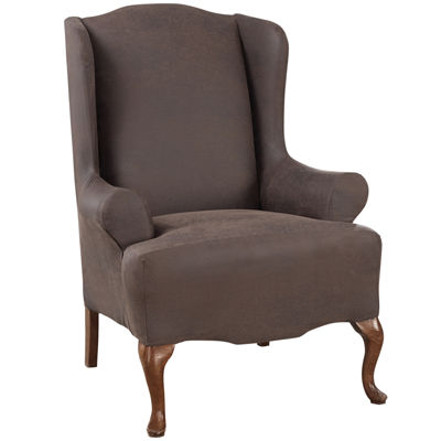SURE FIT® Ultimate Stretch Faux-Leather 1-pc. T-Seat Wing Chair Slipcover