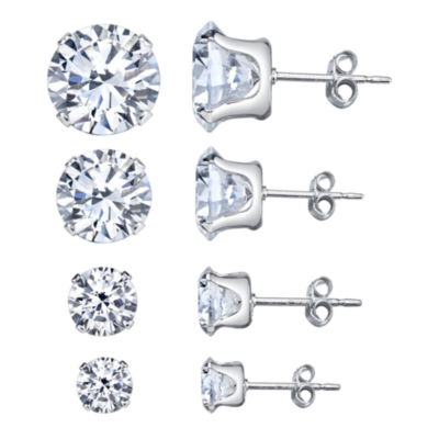 Silver Treasures 4-pc. White Sterling Silver Earring Sets