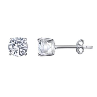 Silver Treasures White 6mm Stud Earrings