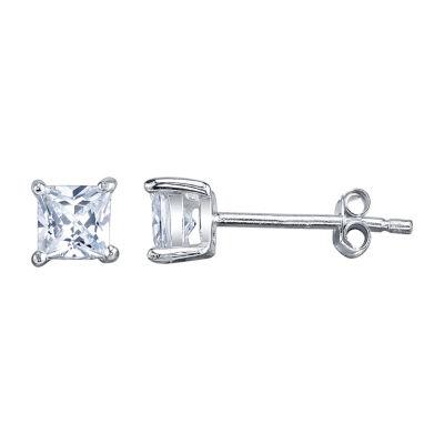Silver Treasures White 4.5mm Stud Earrings