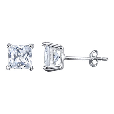 Silver Treasures White 6.5mm Stud Earrings