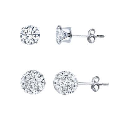 Silver Treasures 2-pc. White Earring Set