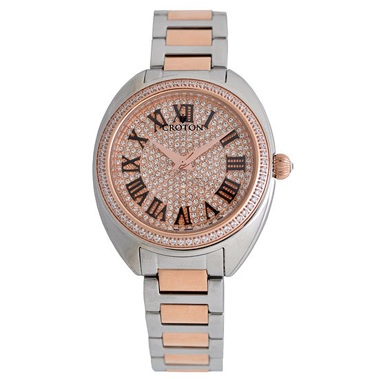 Croton Womens Two Tone Stainless Steel Bracelet Watch-Cn207564ttrg