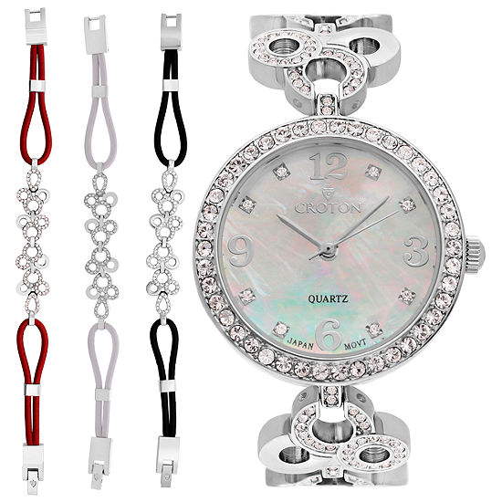 Croton Womens Silver Tone Watch Boxed Set-Cn407567rhmp