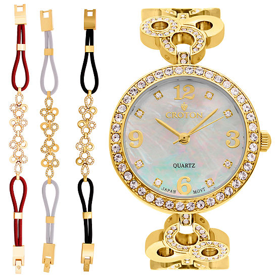 Croton Womens Gold Tone Watch Boxed Set-Cn407567ylmp