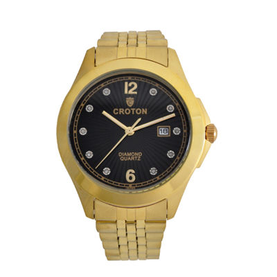 Croton Mens Gold Tone Bracelet Watch-Cn307562ylbd