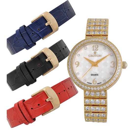 Croton Womens Gold Tone 4 Pc Watch Boxed Set Cn207555ylmp