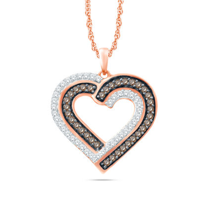 Womens 1/3 CT. T.W. Genuine White Diamond 10K Gold Heart Pendant Necklace