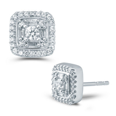 1/2 CT. T.W. Genuine White Diamond 10K Gold 8.4mm Stud Earrings