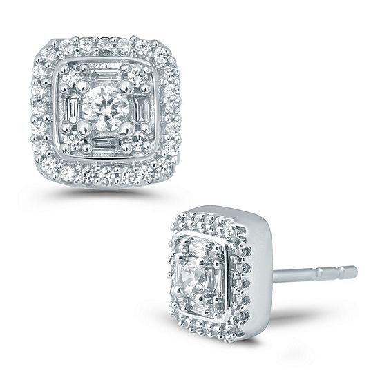 1/2 CT. T.W. Genuine White Diamond 10K Gold 8.4mm Stud Earrings
