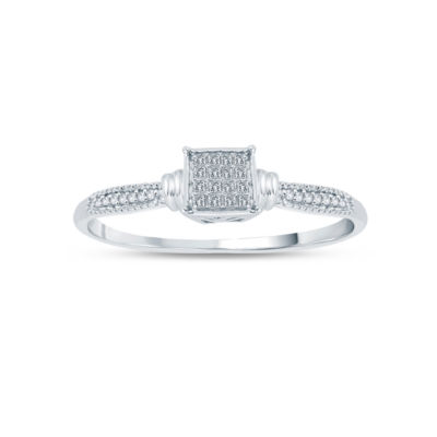 Womens 1/6 CT. T.W. Princess White Diamond 10K Gold Engagement Ring