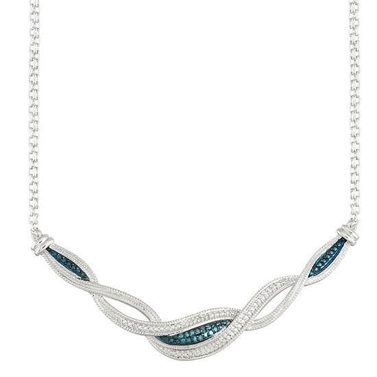 1 10 Ct Tw Blue Diamond Collar Necklace