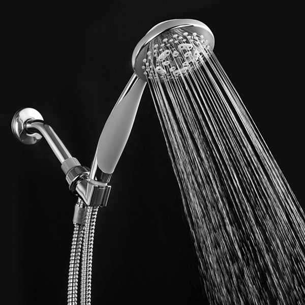 HotelSpa® French Designer Collection High-FashionExtra-Large 7-Setting Luxury Handheld Shower Headwith Soft-Grip Handle / Premium Chrome