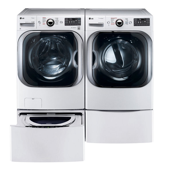 LG Electric Washer and Dryer Package with Pedestals