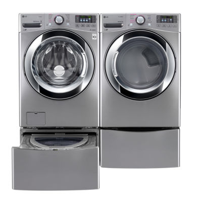 LG Front Load  4-pc. Gas Washer & Dryer Set with Pedestal Washer